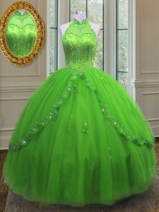 Halter Top Sleeveless Tulle Quinceanera Dress Beading and Appliques Lace Up