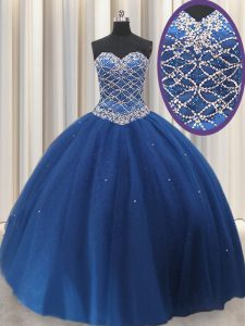 Royal Blue Sweetheart Lace Up Beading and Sequins Ball Gown Prom Dress Sleeveless