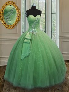 Sweet Sleeveless Floor Length Beading and Ruching and Bowknot Lace Up Sweet 16 Quinceanera Dress with Yellow Green