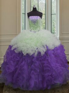 Customized Strapless Sleeveless Organza Quince Ball Gowns Beading and Ruffles Lace Up