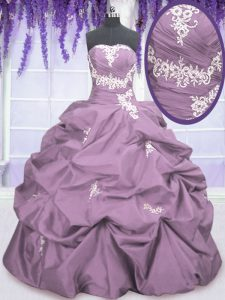 Fashionable Pick Ups Floor Length Ball Gowns Sleeveless Lilac Quinceanera Gown Lace Up