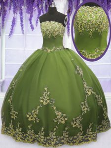 Sleeveless Floor Length Appliques Zipper Ball Gown Prom Dress with Olive Green