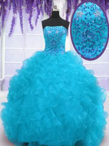 Aqua Blue Lace Up Strapless Beading and Ruffles Quinceanera Dresses Organza Sleeveless Brush Train