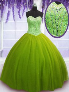 Olive Green Tulle Lace Up Sweetheart Sleeveless Floor Length 15 Quinceanera Dress Beading