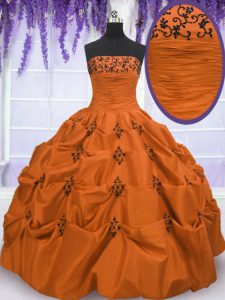 Orange Red Taffeta Lace Up Strapless Sleeveless Floor Length Quinceanera Dresses Embroidery and Pick Ups
