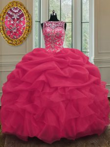 Scoop Sleeveless Beading and Pick Ups Lace Up Quinceanera Gowns