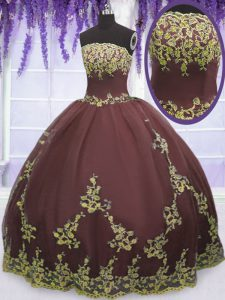 Top Selling Lace and Appliques Quinceanera Dresses Chocolate Zipper Sleeveless Floor Length