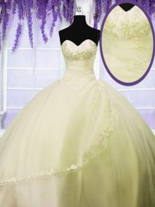 Great Floor Length Ball Gowns Sleeveless Light Yellow Quinceanera Gown Lace Up