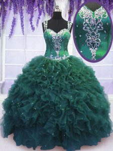 Straps Sleeveless Zipper Vestidos de Quinceanera Dark Green Tulle