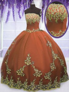 Popular Rust Red Zipper Strapless Appliques 15 Quinceanera Dress Tulle Sleeveless