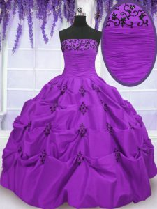 Eggplant Purple Lace Up Sweet 16 Dresses Embroidery and Pick Ups Sleeveless Floor Length