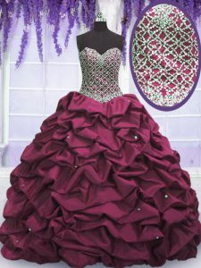 Taffeta Sweetheart Sleeveless Lace Up Beading and Sequins and Pick Ups Vestidos de Quinceanera in Burgundy