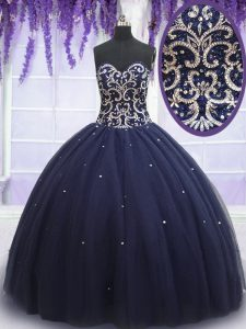 Navy Blue Lace Up Quince Ball Gowns Beading Sleeveless Floor Length