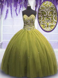 Simple Olive Green Ball Gowns Beading and Appliques Vestidos de Quinceanera Lace Up Tulle Sleeveless Floor Length