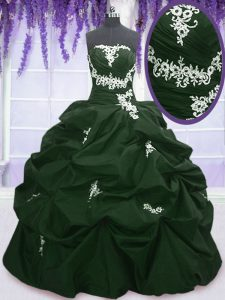 Custom Designed Sleeveless Taffeta Floor Length Lace Up Sweet 16 Dress in Dark Green and Peacock Green with Appliques and Pick Ups