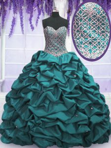 Sweetheart Sleeveless Sweet 16 Dresses Floor Length Beading and Sequins and Pick Ups Teal Taffeta