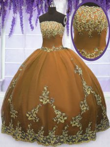 Strapless Sleeveless Zipper Sweet 16 Quinceanera Dress Brown Tulle