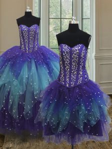 Admirable Three Piece Multi-color Sweetheart Lace Up Beading and Ruffles and Sequins Quinceanera Gowns Sleeveless