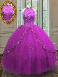 Captivating Ball Gowns 15th Birthday Dress Fuchsia High-neck Tulle Sleeveless Floor Length Lace Up