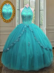 Comfortable Floor Length Ball Gowns Sleeveless Aqua Blue Quinceanera Gowns Lace Up