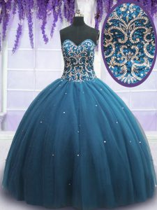 Sophisticated Teal Tulle Lace Up Sweetheart Sleeveless Floor Length Quince Ball Gowns Beading and Appliques