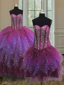 Three Piece Multi-color Sweetheart Neckline Beading Sweet 16 Dress Sleeveless Lace Up