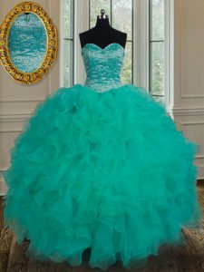 Sweetheart Sleeveless Lace Up Sweet 16 Quinceanera Dress Turquoise Organza