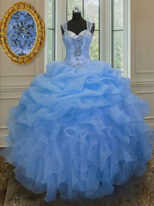 Straps Blue Sleeveless Organza Zipper Quinceanera Dresses for Military Ball and Sweet 16 and Quinceanera