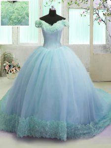Deluxe Off the Shoulder Organza Sleeveless With Train Quinceanera Gowns Court Train and Hand Made Flower
