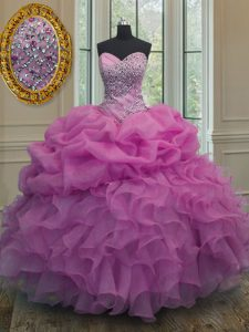 Great Lilac 15th Birthday Dress Military Ball and Sweet 16 and Quinceanera with Beading and Ruffles and Pick Ups Sweetheart Sleeveless Lace Up