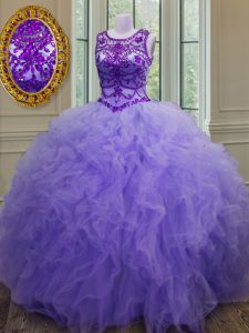 New Arrival Bateau Sleeveless Tulle Sweet 16 Dresses Beading and Ruffles Lace Up