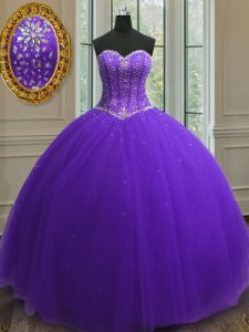 Purple Sweetheart Neckline Beading and Sequins Quinceanera Gown Sleeveless Lace Up