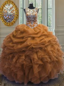 Cute Scoop Brown Lace Up Quinceanera Dresses Beading and Ruffles and Pick Ups Sleeveless Floor Length