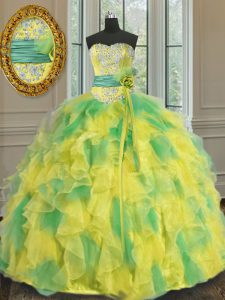 Halter Top Multi-color Sleeveless Floor Length Beading and Appliques and Ruffles and Sashes ribbons and Hand Made Flower Lace Up Quinceanera Gown