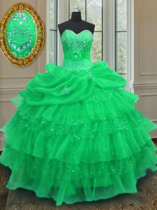 Green Organza Lace Up Halter Top Sleeveless Floor Length Sweet 16 Dresses Beading and Ruffled Layers and Pick Ups