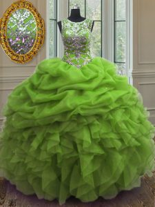 Dramatic Pick Ups Ball Gowns 15th Birthday Dress Scoop Organza Sleeveless Floor Length Lace Up