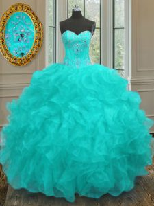 Amazing Sleeveless Lace Up Floor Length Beading and Embroidery and Ruffles Quinceanera Gown