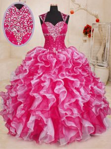 Luxurious White And Red Organza Lace Up Sweetheart Sleeveless Floor Length Vestidos de Quinceanera Beading and Ruffles
