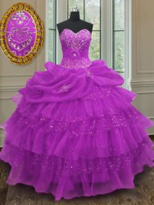 Halter Top Sleeveless Sweet 16 Quinceanera Dress Floor Length Beading and Ruffled Layers and Pick Ups Purple Organza