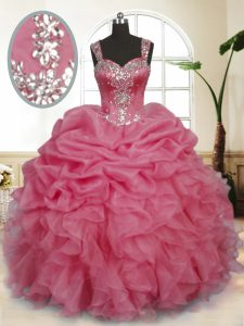 Extravagant Floor Length Zipper Quince Ball Gowns Pink for Military Ball and Sweet 16 and Quinceanera with Beading and Ruffles and Pick Ups