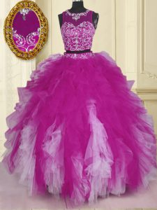 Scoop Floor Length Zipper 15 Quinceanera Dress Fuchsia for Military Ball and Sweet 16 and Quinceanera with Beading and Ruffles