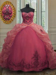 Sweetheart Sleeveless Organza 15th Birthday Dress Beading and Appliques and Pick Ups Court Train Lace Up