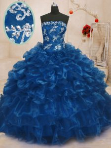 Fashion Beading and Appliques and Ruffles Sweet 16 Quinceanera Dress Navy Blue Lace Up Sleeveless Floor Length