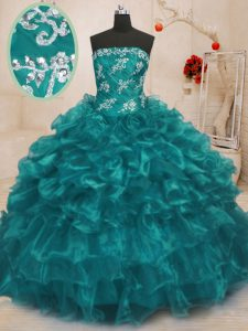 Sleeveless Beading and Appliques and Ruffles Lace Up Quinceanera Gowns