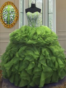 Green Organza Lace Up Quince Ball Gowns Sleeveless Floor Length Beading and Ruffles