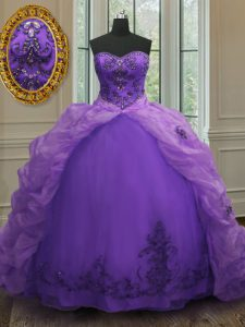 Sweetheart Sleeveless Ball Gown Prom Dress With Train Court Train Beading and Appliques and Pick Ups Purple Organza