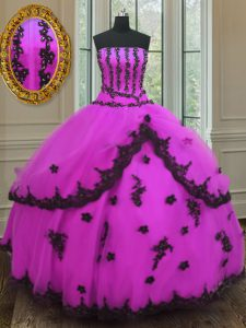 Clearance Fuchsia Ball Gowns Strapless Sleeveless Tulle Floor Length Lace Up Appliques Quinceanera Dresses