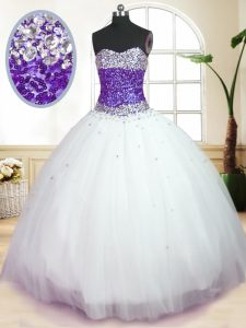 Dynamic White And Purple Ball Gowns Sweetheart Sleeveless Tulle Floor Length Lace Up Beading Ball Gown Prom Dress