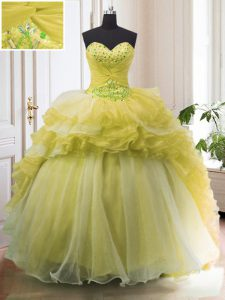 Sweetheart Sleeveless Organza Quinceanera Dresses Beading and Ruffled Layers Court Train Lace Up