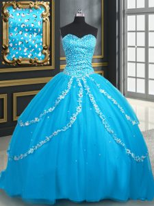 Baby Blue Ball Gowns Tulle Sweetheart Sleeveless Beading and Appliques With Train Lace Up Sweet 16 Quinceanera Dress Brush Train